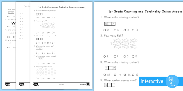 First Grade Counting and Cardinality Online Assessment Practice