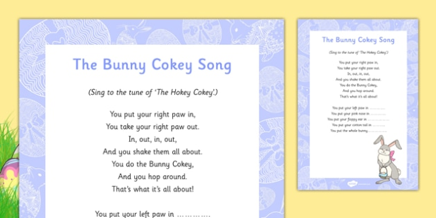 The Bunny Cokey Song - Easter, song, rhyme, the bunny cokey, bunny