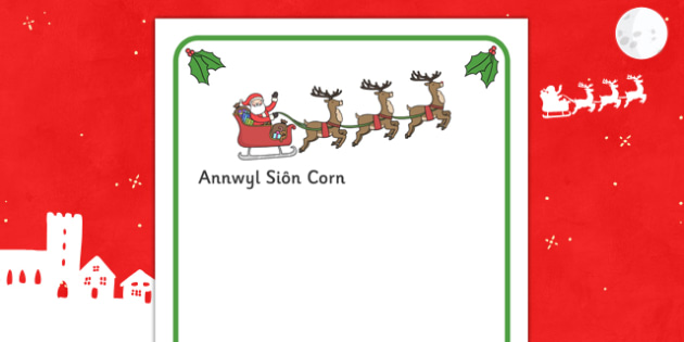 letter to santa writing frames welsh translation letter