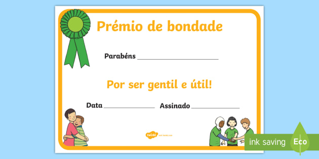 new certificado de bondade certificado de prêmio de