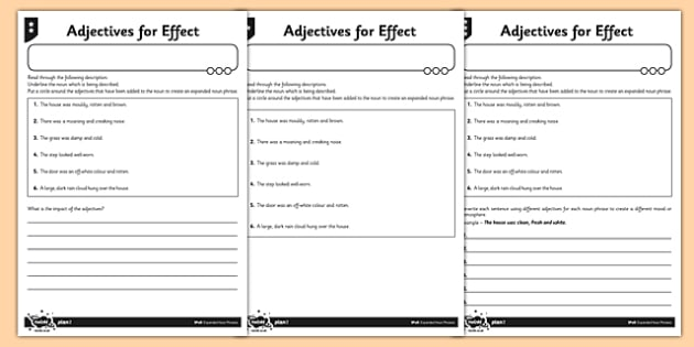 Adjectives for Effect Differentiated Worksheet / Activity Sheet Pack - GPS, modifying, adjectives, spelling, grammar, punctuation, worksheet