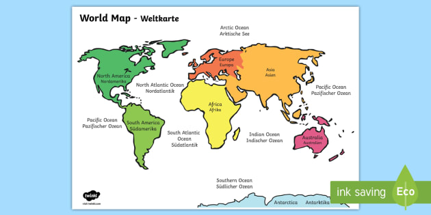 World Map with Names English/German - geography, mediterranean map, map
