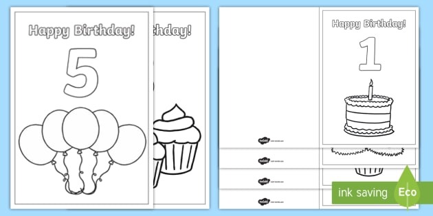 Birthday Age Colouring Cards