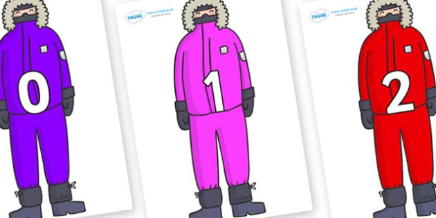 Numbers 0-31 on Arctic Explorers - 0-31, foundation stage numeracy, Number recognition, Number flashcards, counting, number frieze, Display numbers, number posters