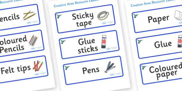 Hummingbird Themed Editable Creative Area Resource Labels - Themed creative resource labels, Label template, Resource Label, Name Labels, Editable Labels, Drawer Labels, KS1 Labels, Foundation Labels, Foundation Stage Labels