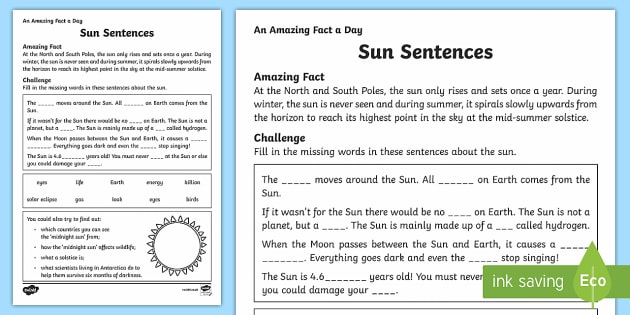 Sun Sentences Activity Sheet - Amazing Fact Of The Day, activity sheets, powerpoint, starter, morning activity, December , sun, fac
