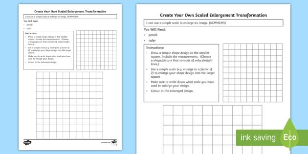 create your own scaled enlargement transformation worksheet worksheet. Black Bedroom Furniture Sets. Home Design Ideas