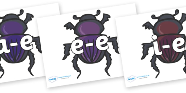 Modifying E Letters on Egyptian Beetles (Scarab) - Modifying E, letters, modify, Phase 5, Phase five, alternative spellings for phonemes, DfES letters and Sounds