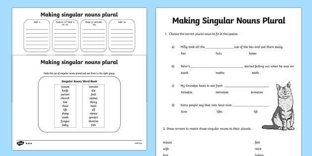 Making Singular Nouns Plural Worksheet Activity Sheet