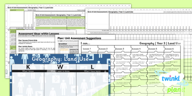 Geography: Land Use Year 3 Unit Assessment Pack