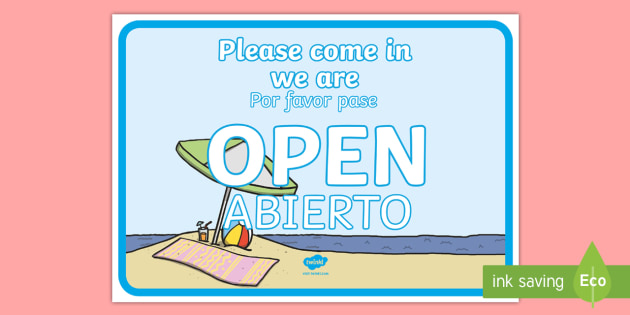 travel agents open role play signs english spanish inglés