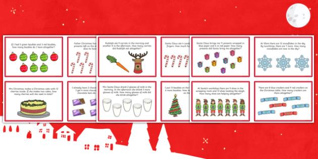 Christmas Themed KS1 Addition Word Problem Challenge Cards - christmas addition, word problem, challenge, cards