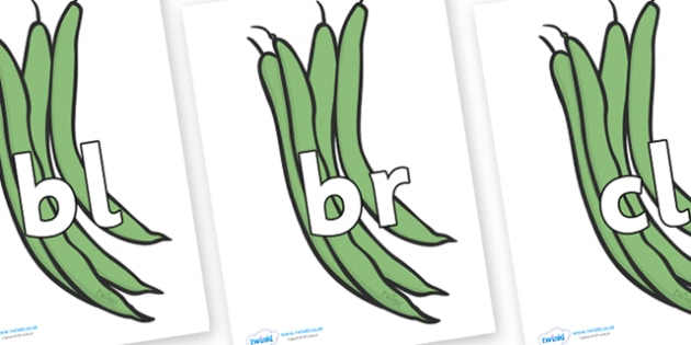 Initial Letter Blends on Green Beans - Initial Letters, initial letter, letter blend, letter blends, consonant, consonants, digraph, trigraph, literacy, alphabet, letters, foundation stage literacy