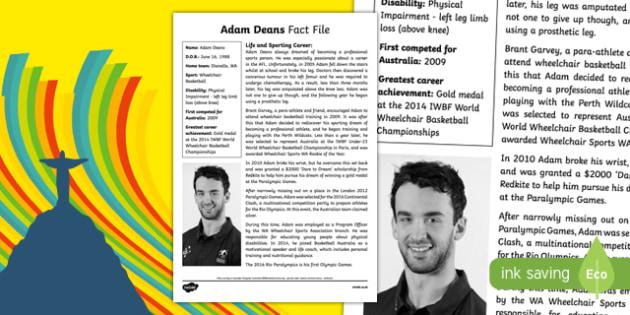 Paralympian Adam Deans Fact File-Australia