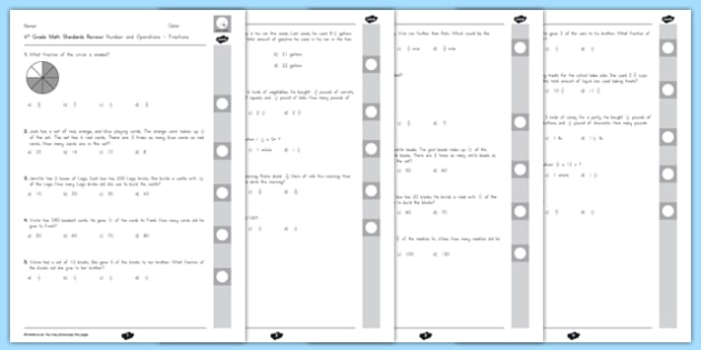 Common Core 4th Grade NF Standard Review Pack - usa, america, US Resources, Grade 4 NF, End of Grade Review