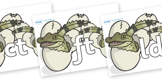 Final Letter Blends on Hatching Aligators - Final Letters, final letter, letter blend, letter blends, consonant, consonants, digraph, trigraph, literacy, alphabet, letters, foundation stage literacy