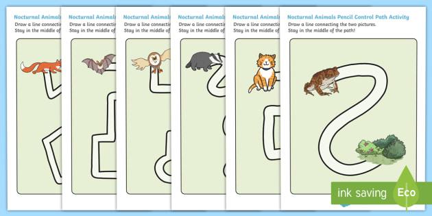 Nocturnal Animals Pencil Control Path Worksheets - nocturnal, animals, pencil control path, worksheets