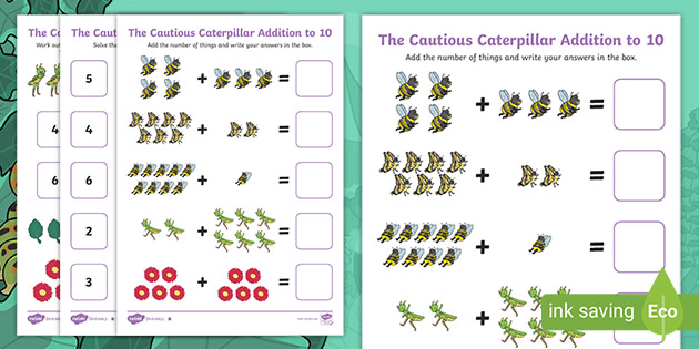 The Cautious Caterpillar Addition to 10 Worksheet