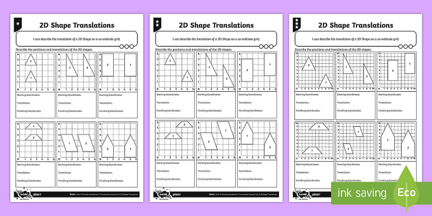 2D Shape Translations Differentiated Activity Sheets - Position, direction, coordinates, translations, 2D shape