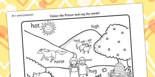 Word Initial h Production Colouring Scene - initial h, colours
