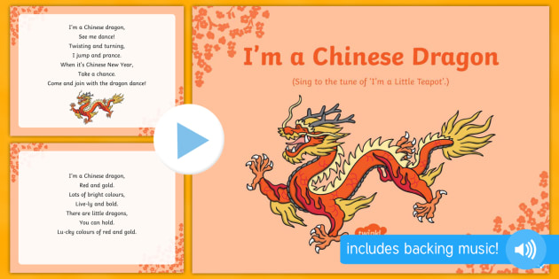 i'm a chinese dragon song powerpoint - eyfs, early years, key, Powerpoint templates