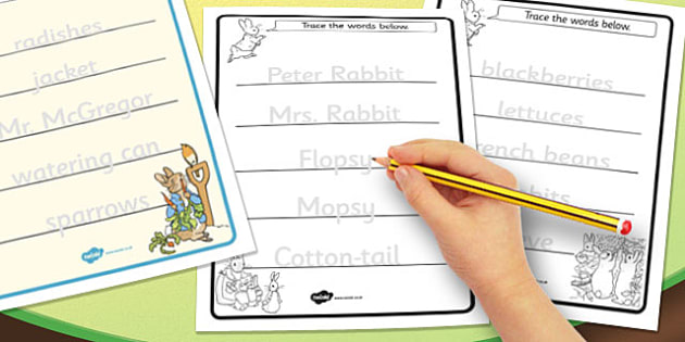 The Tale of Peter Rabbit Trace the Words Worksheets - peter rabbit