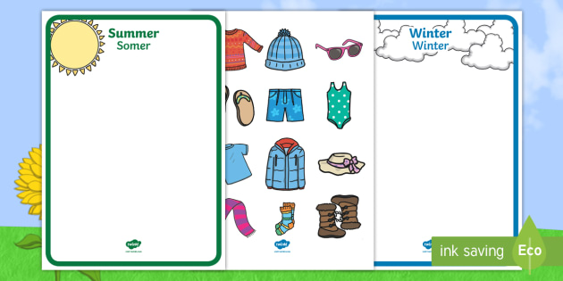 Winter And Summer Shape Sorting Worksheet Activity Sheet