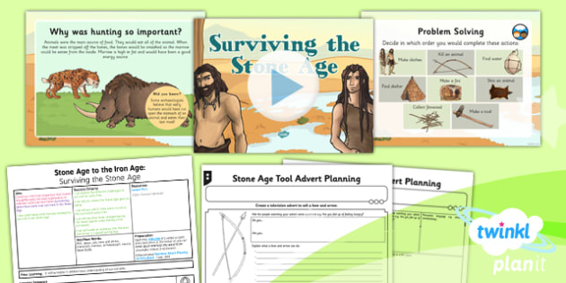 History: Stone Age to the Iron Age: Surviving the Stone Age UKS2 Lesson Pack 1