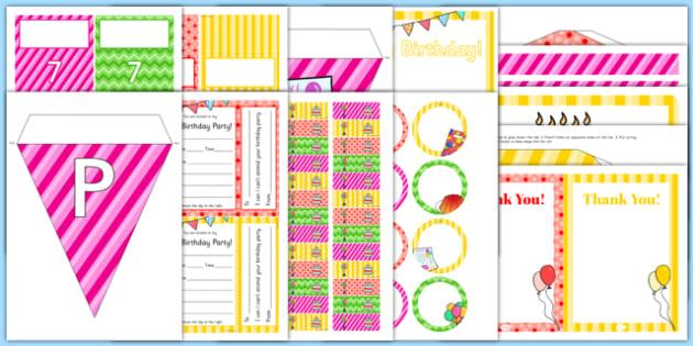 7th Birthday Party Pack - 7th birthday party, 7th birthday, birthday party, pack