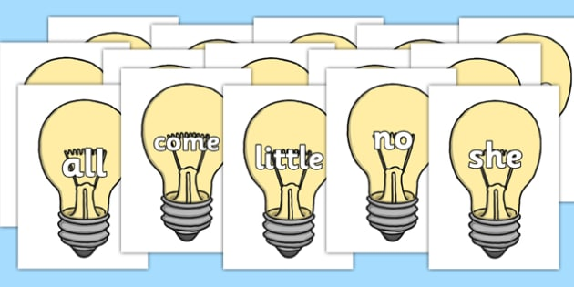 Tricky Words on Light Bulbs (Plain) - Tricky words, DfES Letters and Sounds, Letters and sounds, display, words