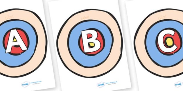 A-Z Alphabet on Targets - A-Z, A4, display, Alphabet frieze, Display letters, Letter posters, A-Z letters, Alphabet flashcards