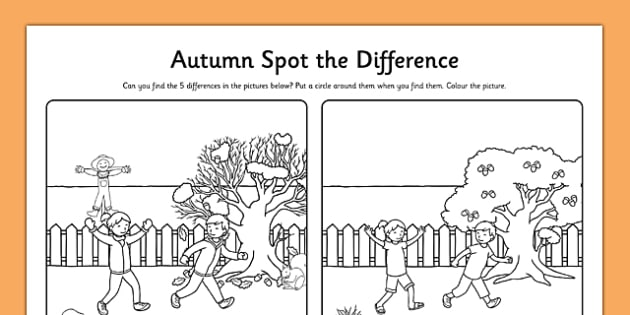 Spot The Difference Autumn Colouring Worksheet Roi Irish