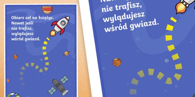 Plakat motywacyjny Obierz kurs na księżyc po polsku