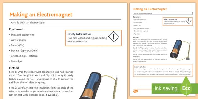 Electromagnet Investigation Instruction Sheet Print-Out - Investigation Help Sheet, science practical, method, instructions, magnetism, electricity, magnet, e