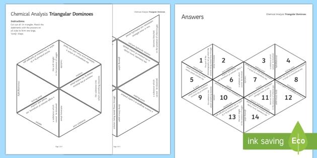 Chemical Analysis Tarsia Triangular Dominoes - Tarsia, plenary activity