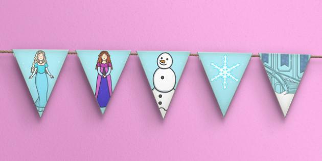 Winter Fairytale Bunting - frozen, bunting, fairytale, fairy tale, Elsa