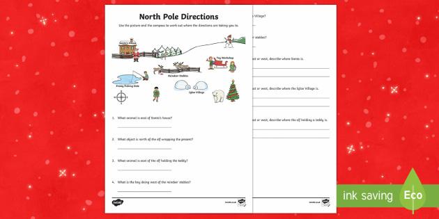 ks1 north pole direction worksheet activity sheet compass. Black Bedroom Furniture Sets. Home Design Ideas