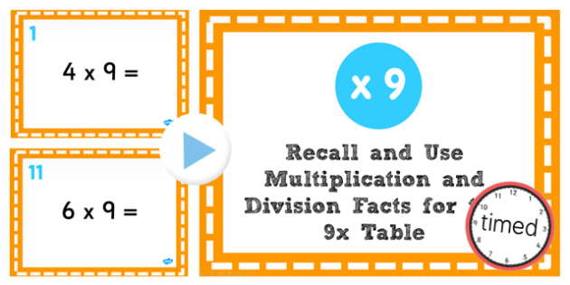 Multiplication Division Facts for 9 Times Table PowerPoint Test