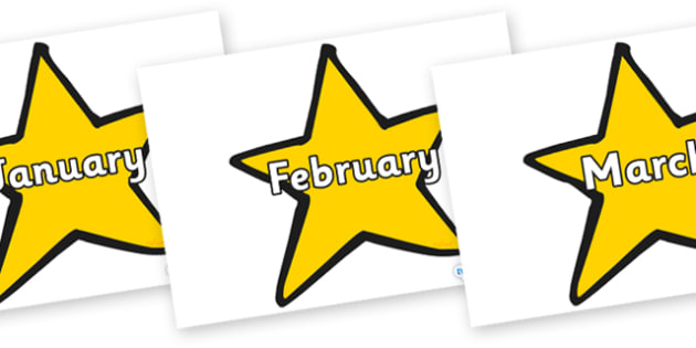 Months of the Year on Stars (Plain) - Months of the Year, Months poster, Months display, display, poster, frieze, Months, month, January, February, March, April, May, June, July, August, September