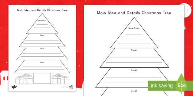 Main Idea and Details Christmas Tree Activity - Graphic Organizer, reading  response, read to - Main Idea And Details Christmas Tree Activity - Graphic Organizer