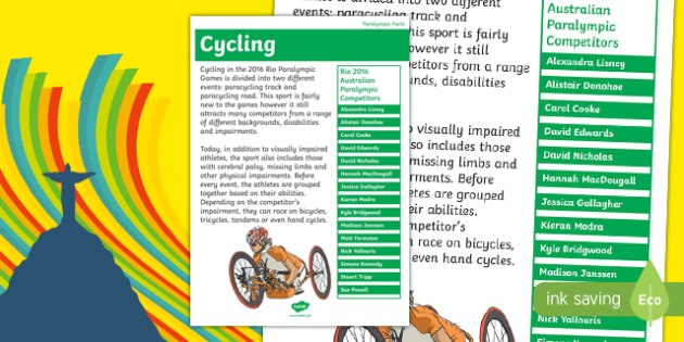 Australia Rio Paralympics 2016 Cycling Display Poster