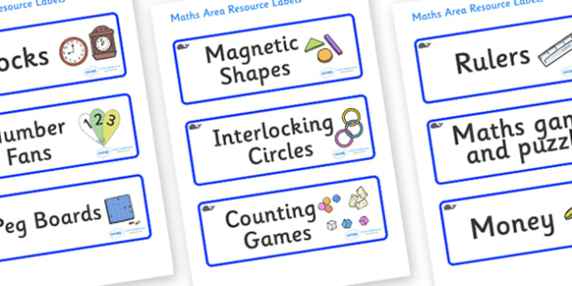 Blue Whale Themed Editable Maths Area Resource Labels - Themed maths resource labels, maths area resources, Label template, Resource Label, Name Labels, Editable Labels, Drawer Labels, KS1 Labels, Foundation Labels, Foundation Stage Labels, Teaching