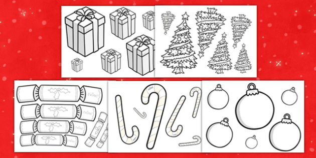 Christmas Themed Size Ordering Objects Colouring Worksheets - colour