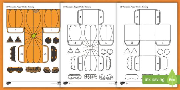 Free Simple Make Your Own 3d Pumpkin Halloween Paper Craft