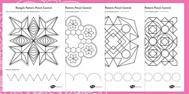 Rangoli Pattern Pencil Control Worksheets - rangoli, diwali
