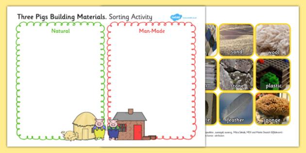 Three Pigs Material Sorting Activity - three pigs, sorting, sort