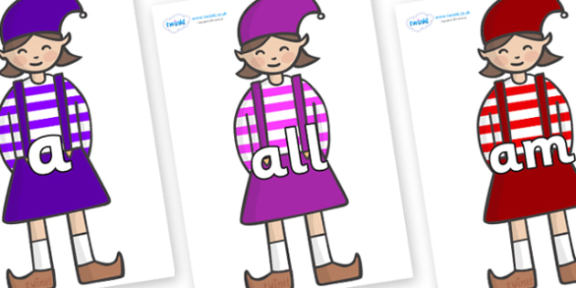 Foundation Stage 2 Keywords on Elf (Girl) - FS2, CLL, keywords, Communication language and literacy,  Display, Key words, high frequency words, foundation stage literacy, DfES Letters and Sounds, Letters and Sounds, spelling