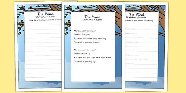 The Wind KS2 Handwriting Practice - ks2, handwriting, practice, wind