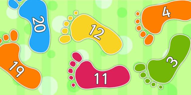 Numbers 0 31 On Footprints - footprint, numeracy, footprint