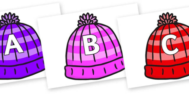 A-Z Alphabet on Woolly Hats - A-Z, A4, display, Alphabet frieze, Display letters, Letter posters, A-Z letters, Alphabet flashcards